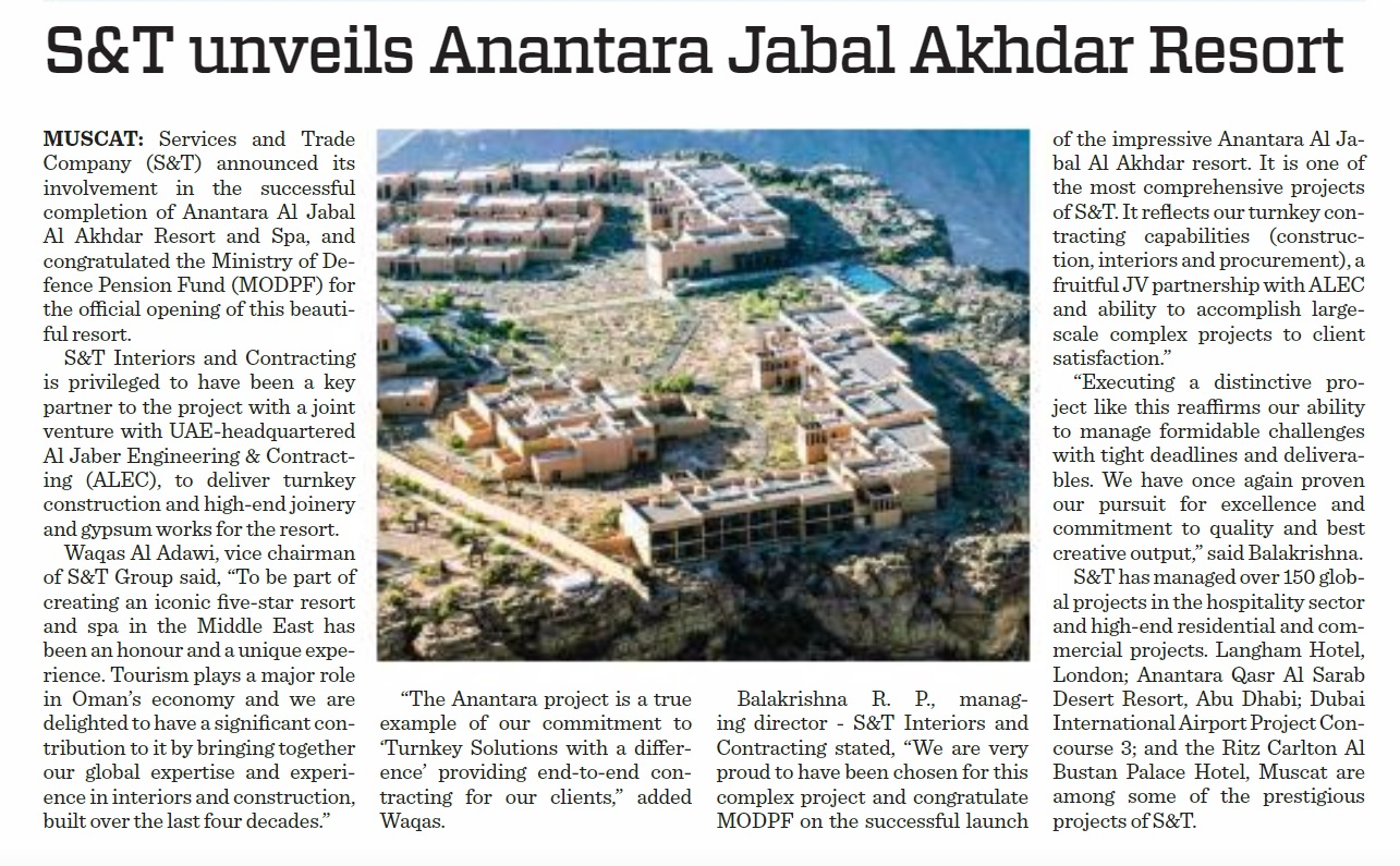 S&T Group - Anantara Jabal Akhdar Resort