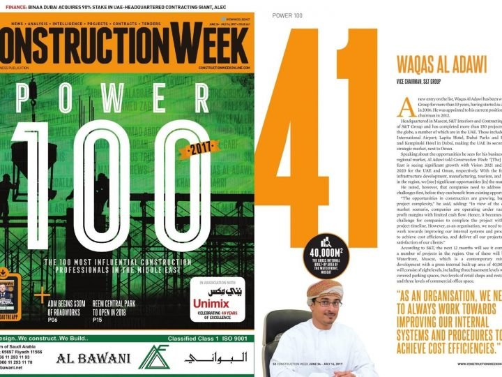 Power 100 – The 100 most influential construction professionals in the Middle East