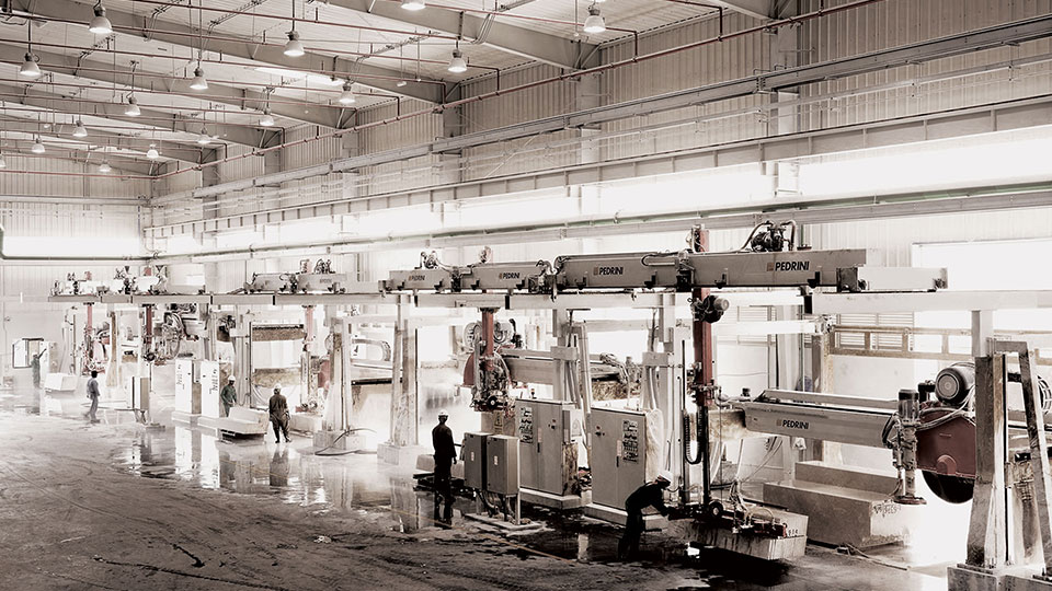 Slab polishing line