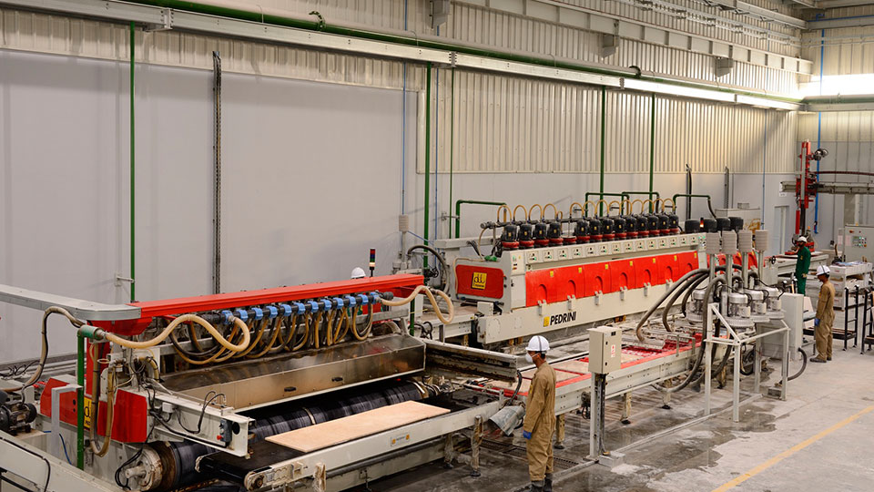 Tile polishing line