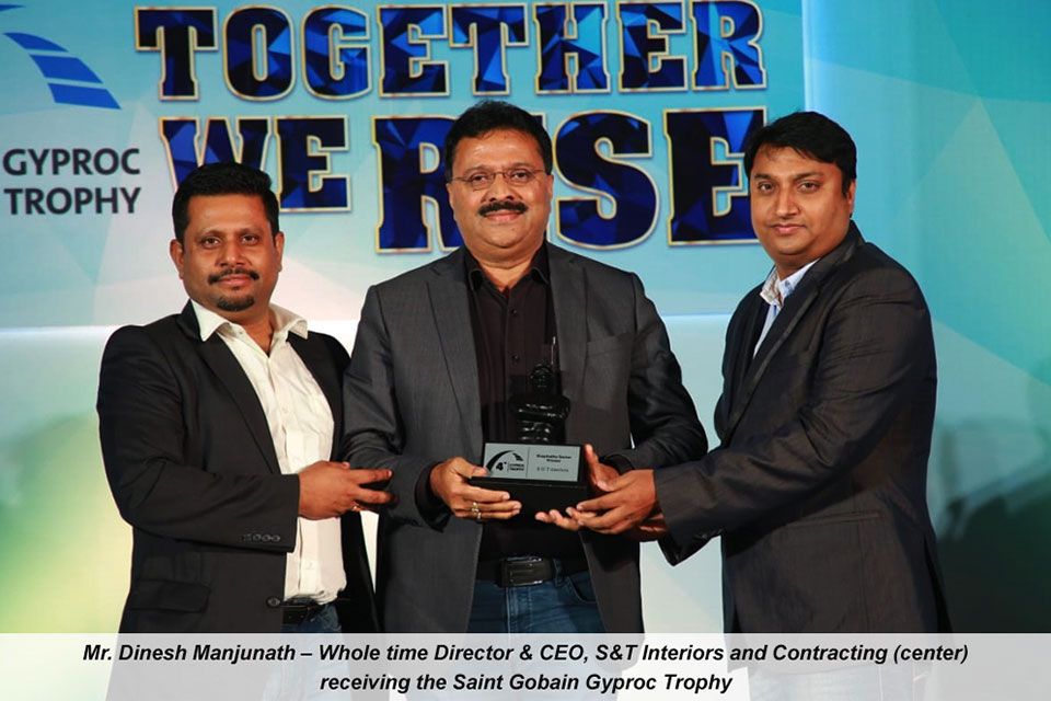 S&T India awarded Saint Gobain's Gyproc Trophy & HSE